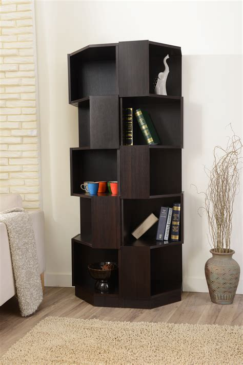 furniture of america espresso siva corner 5 shelf bookcase