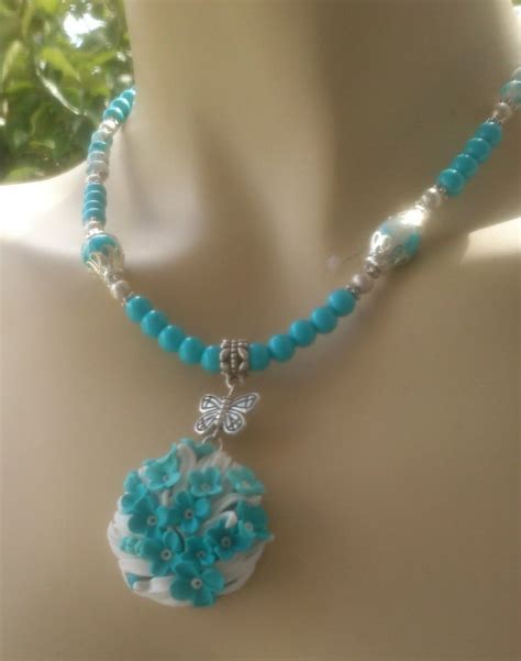 Handmade Turquoise Jewelry - handmade turquoise jewelry polymer necklace and earrings