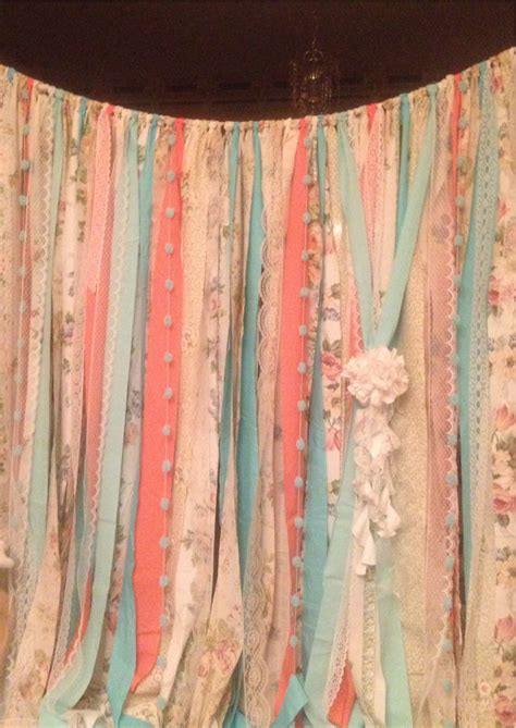 ribbon drapes mint coral aqua teal rag curtain ribbon garland lace and