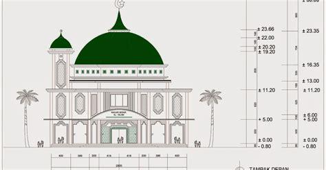 gambar desain menara masjid masjid 2 lantai ukuran 28 m x 34 m dengan 1 menara home