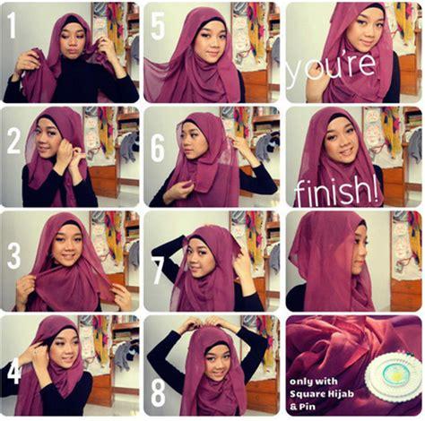 tutorial hijab segiempat modern untuk wajah bulat foto tutorial hijab modern segi empat