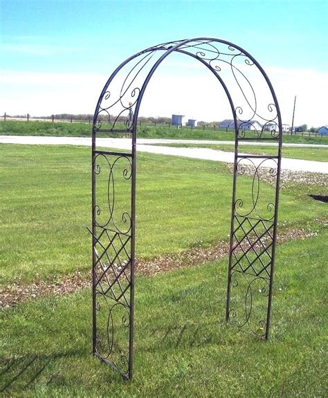 Metal Arch Trellis Wrought Iron Fancy Curl Arbor