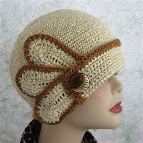 pattern hat crochet womens crocheted flapper hat pattern with petal and button
