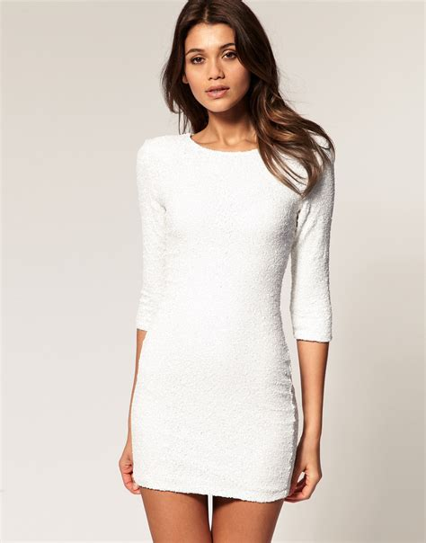 lyst tfnc tfnc sequin dress with sleeves in