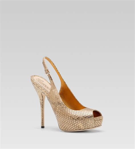 high heel sandals gold gucci sofia high heel slingback platform sandal in gold lyst