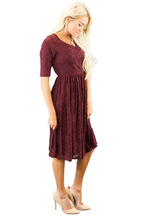 Dress Emy emmy modest bridesmaid dress in burgundy lace