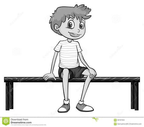 boys bench little boy sitting on bench stock vector image 58787094