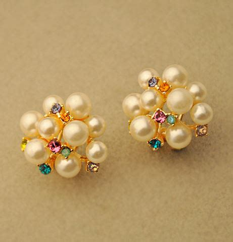 Pearl Flower Fashion pearl flower bouquet fashion ear lilyfair jewelry