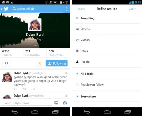 new twitter layout android twitter for android updated with dm pictures and swipe