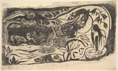paul gauguin woodcut   horned head  met