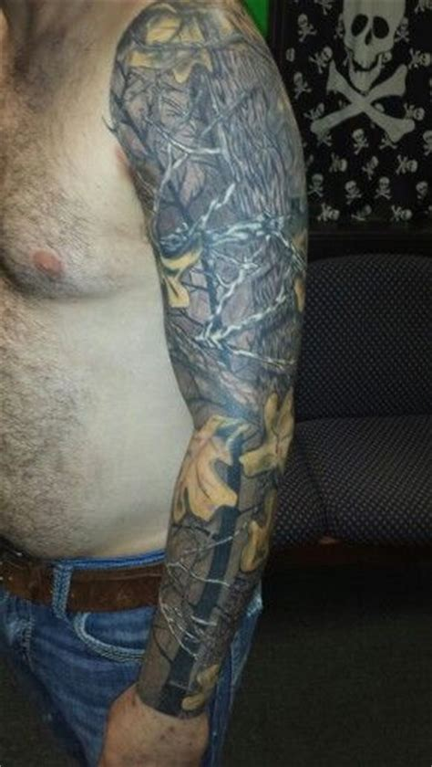 camouflage tattoo real tree camo sleeve tattoos camouflage