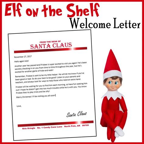 elf on the shelf welcome letter from santa printable elf on the shelf customizable welcome letter printables