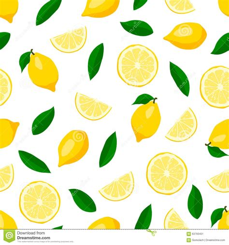 cute lemon pattern lemons seamless pattern stock vector image 63793451