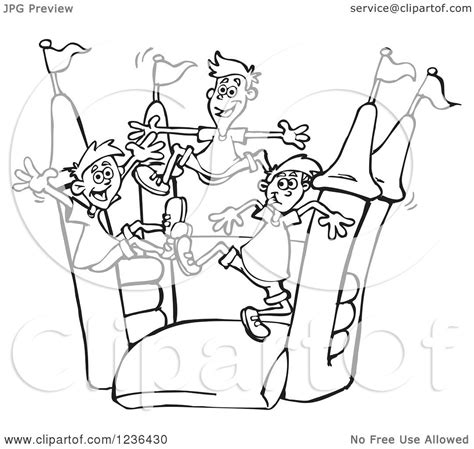 bouncy house coloring pages clipart of black and white boys jumping on a castle bouncy