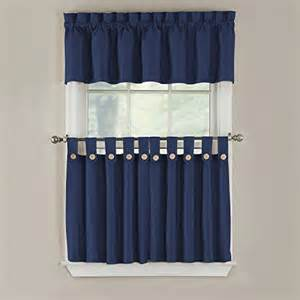 24 Inch Tier Curtains Gpd Newport 60 Inch X 24 Inch Button Tab Top Tier Curtain Pair Navy New Ebay