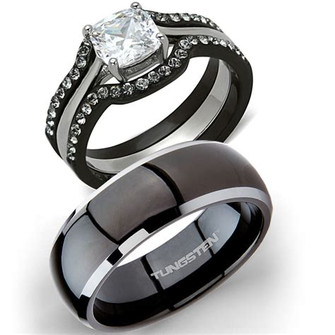 his tungsten hers 4 pc black stainless steel wedding