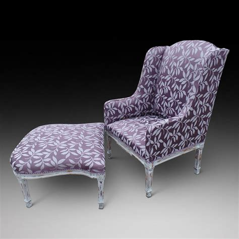 Armchair With Stool A Wing Armchair With Accompanying Foot Stool