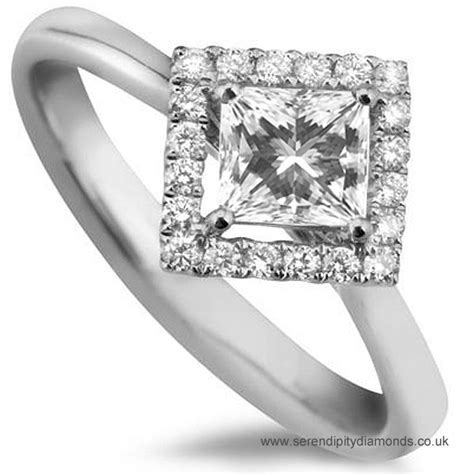 Princess diamond halo ring with north east south west