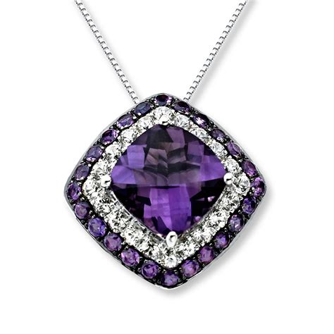 amethyst necklace white topaz sterling silver