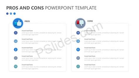 pros and cons list template pros and cons powerpoint template pslides