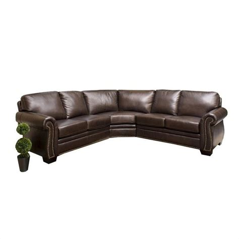 Abbyson Living Arizona Leather Sofa Dark Truffle Sectional