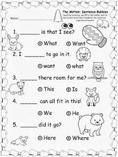 sentence patterns multiple choice quiz free the mitten by jan brett sentence bubbles do you