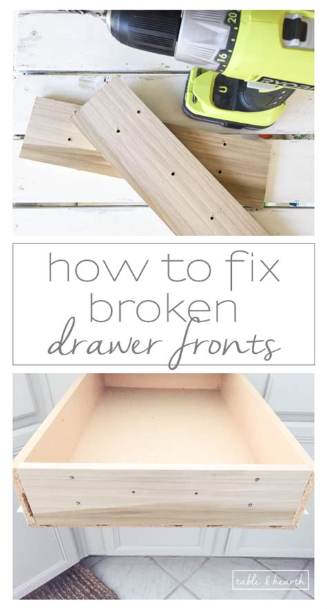 How To Fix Kitchen Drawer by How To Fix Broken Drawer Fronts Easily Table And Hearth