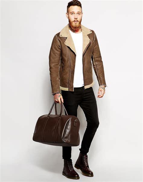 biker coat faux shearling coat mens jacketin