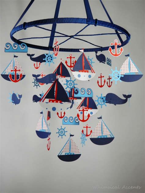 Nautical Crib Mobile by Nautical Mobile With Sailboat Anchor Helm Whale And