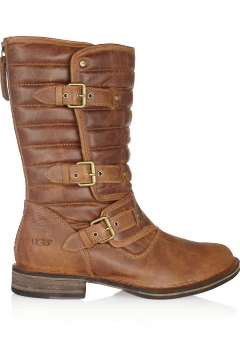 brown leather ugg boots ugg tatum leather boots in brown lyst
