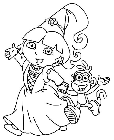 coloring pages dora and boots dora went to party with boots coloring pages coloring