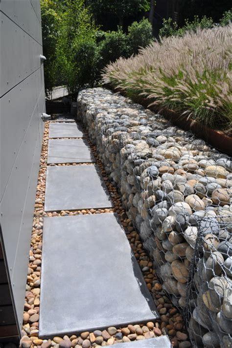 modern retaining wall gabion rock retaining wall modern landscape san
