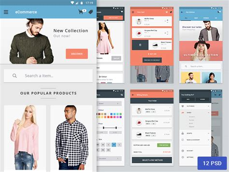 design app for clothing materia ecommerce app design freebiesbug