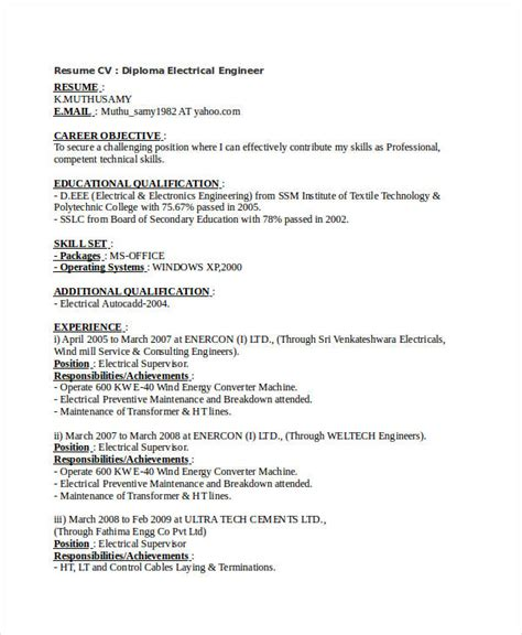 diploma electrical engineering resume format free engineering resume templates 49 free word pdf