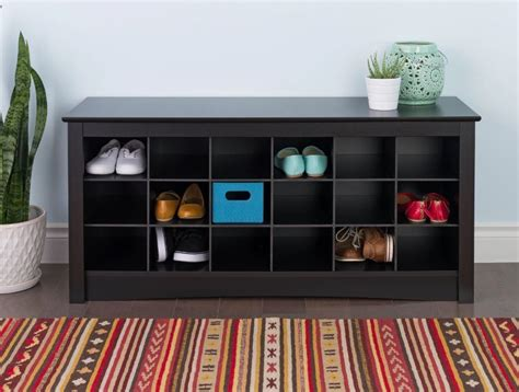 Entry Bench With Shoe Storage Sonoma Shoe Storage Organizer Bench Entryway Furniture Mudroom Seat Cubbie Black Ebay