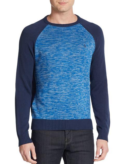 Sweater Original original penguin colorblock raglan sleeve sweater in blue for lyst