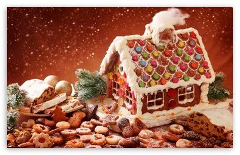 christmas wallpaper gingerbread gingerbread house and cookies 4k hd desktop wallpaper for