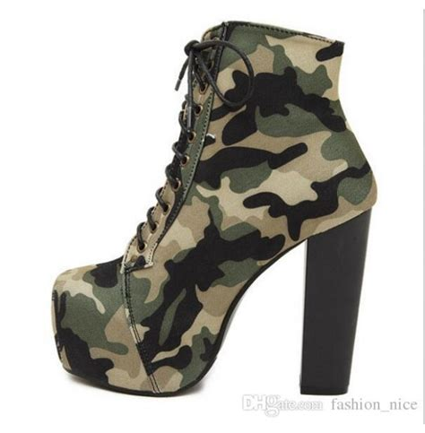 camo high heel boots new army camo camouflage print ankle boots platform