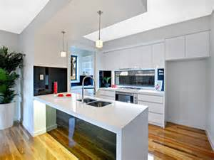 modern galley kitchen design using glass kitchen photo