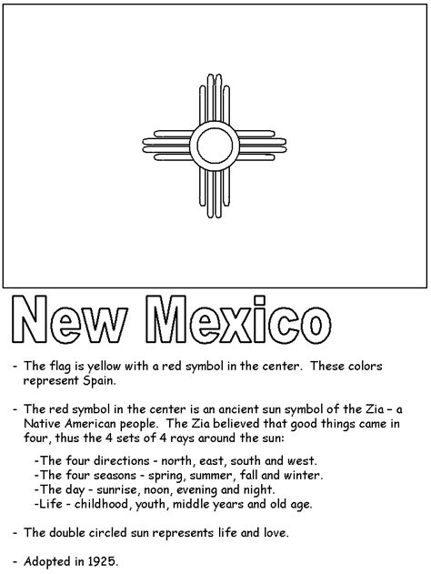New Mexico State Flag Coloring Page free nm state seal coloring pages