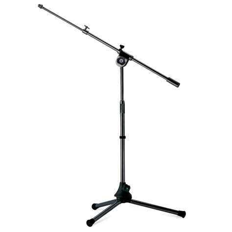 mini floor microphone stand with boom arm metal black