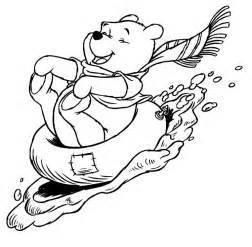 winnie pooh enjoying winter season pictures colour coloring
