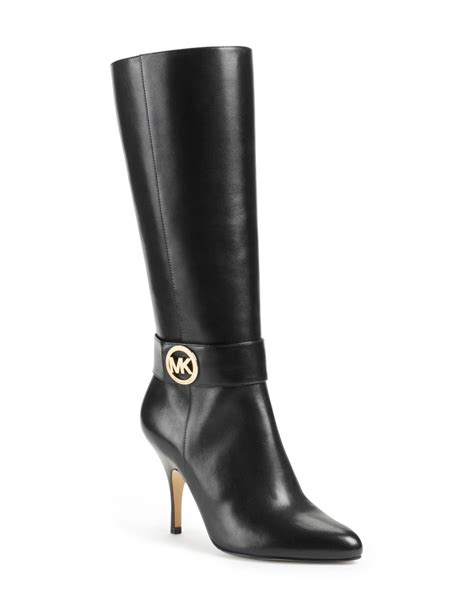 michael kors michael caroline leather knee boot in black
