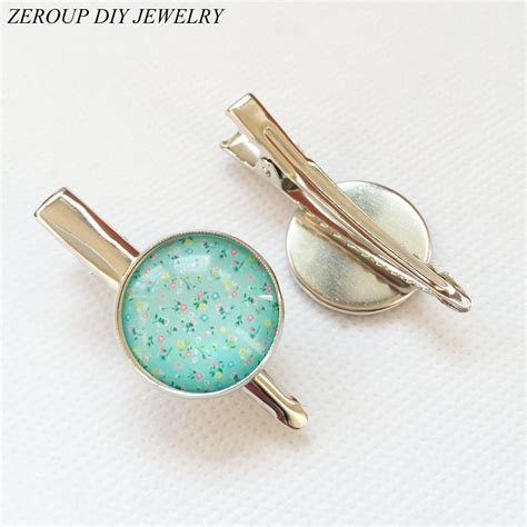 equipment for jewelry zeroup 20mm 10pcs silver plated hair hairpin cameo
