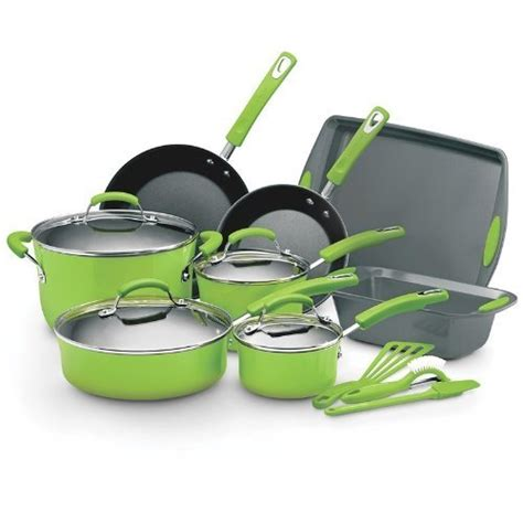 amazon com rachael ray lime green 15 pc cookware set kitchen dining