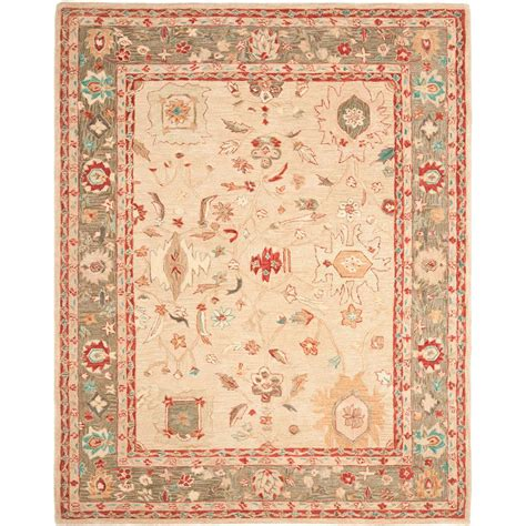 beige and green area rugs safavieh anatolia beige green 8 ft x 10 ft area rug an511a 8 the home depot