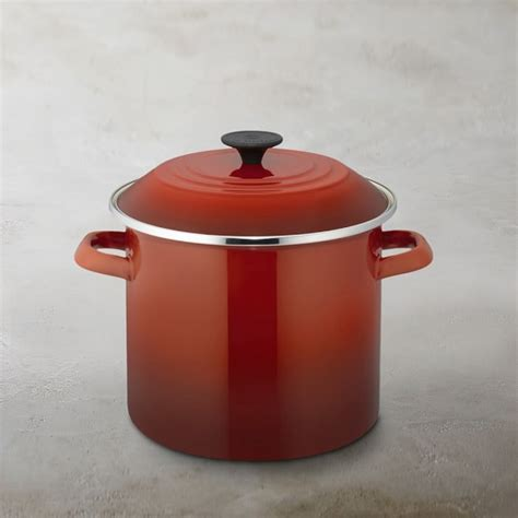 le creuset pot le creuset enameled steel stock pot williams sonoma