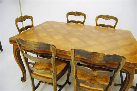 route  furniture antique french provincial parquetry draw leaf dining table   chairs