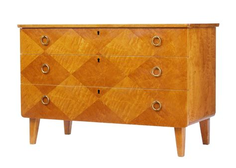 decorative chest of drawers 1950 s swedish decorative birch chest of drawers