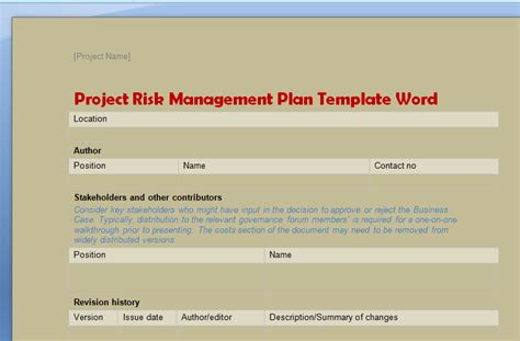 Project Risk Management Plan Template Word Projectemplates Project Management Template Word